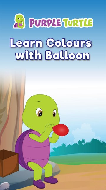 Purple Turtle Learn Colours With Balloon