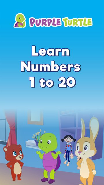 Purple Turtle Learn Numbers 1 to 20